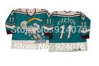 1995-96 Wild Wing Valeri Karpov #11 Anaheim Mighty Ducks Jerseys Green - Customized Any Name And Number Swen On (XXS-6XL)