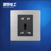 Wholesale POLO Luxury 5 Hole Wall Socket Panel, 5-Pin Multifunction Socket,Electric Wall Outlet Champagne/Black,10A, 110~250V