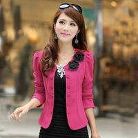 2014 Free Shipping  Autumn Slim All-Match Blazer Fashion Double Breasted Cardigan Elegant Short Jacket OC020