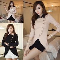 2014 Free Shipping  Wave Pleated Elegant Color Black & Pink Matching Slim Gentlewomen Furcal Jacket Coat JK031