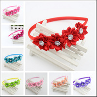 Baby Girl Satin Ribbon Flowers Rhinestone Hairbands for Hair Accessories Princess Headband 12 Color Mix Girl Headwear 8pcs/lot