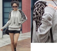 NEW 2014 Casual Spring Crop top plus size cotton brand cropped tops leopard print patchwork elegant thermal long-sleeve t