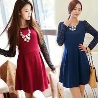 New 2015 free shipping  summer Lace base dress long sleeve Flowers hollow out korea Plus size 3 color S-XXL Saias femininas