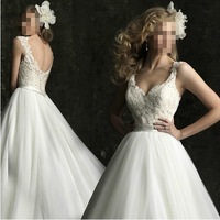 new 2015 slim sexy lace V-neck double-shoulder princess sweetheart wedding dress