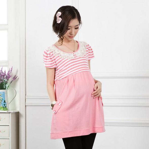 Pregnant Women Cotton Dress Plus Size Maternity Nursing Clothes 2014 Summer Fashion Pregnancy Feeding Dress Short Sleeve Lace(China (Mainland))