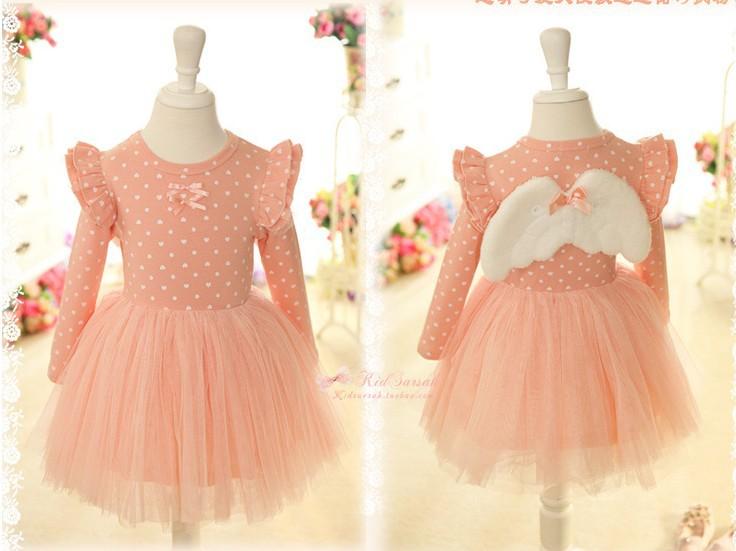 Free Shipping-5pcs/lot -Angel wings girls dot mesh sleeved dress - baby tutu dress(China (Mainland))