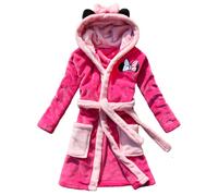 Cartoon MINNIE style female child robe coral fleece thickening with a hood winter female child bathrobe