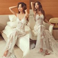 2015 Princess V-neck Mermaid Wedding Dresses Wedding Dresses New See Through for Sale Fashionable Lace Mermaid Dress Romantic