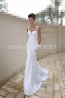 Sexy spagetti straps lace beach wedding dress mermaid wedding dresses 2014 Louis. heart fish tail trailing  banquet formal dress
