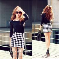 2014 summer vintage dimond plaid high waist tight fitting slim hip short skirt bust skirt 8850
