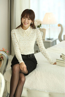 Spring/Summer Business Casual Clothes For Women Elegant Beading Lace lapel Slim Chiffon Shirts Women Free Shipping