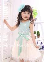 Retails !2014 new summer Baby Girls Toddler Kids dress Princess Party Bowknot Belt Cotton Lace Formal girls' Dress GQ-361