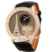 New Eiffel Tower Design Water Resistant Quartz Movement Analog Watch with Faux Leather Strap (black.red.white)