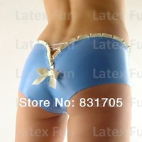Latex Hot Fetish Pants Women Bow Back Sexy Low Waist Briefs