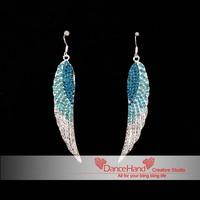 Free Shipping New Lake Blue Angel Wing Rhinestone Crystal Dangle Stud  Middle East Crystal Jewelry Earrings