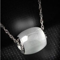 High quality 925 sterling silver beads transit opal silver necklace Korean jewelry wholesale free shipping !