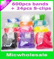 DIY  loom rubbrer  bands  refill kids bands charm bracelets  Silicone Twistz Bandz ( 600pcs bands+24pcs s-clips )