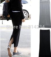 Promotion!Hot sale spring winter women's slim hip step skirt 2014 female high waist long bust skirts black grey ,free shipping