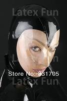 Unisex Sexy Hood Hat Color Patchwork Latex Transparent Mask