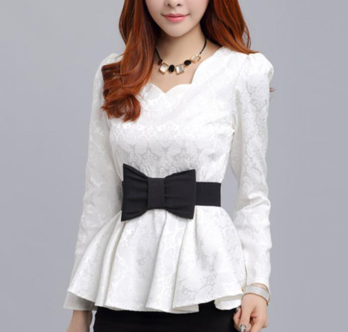 New 2014 free shipping autumn summer women cotton Lace dress bow printing Korea 5 color S-XXL(China (Mainland))