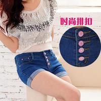 Free shipping New Spring & Summer Korean denim shorts high waist shorts bottum details S-XL Free shipping