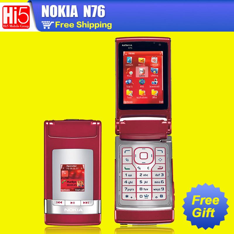 "Nokia N76 Unlocked Original cell phone refurbished 2MP camera 2.4"" Symbian OS 9.2 Flip design One Year Warranty freeship(China (Mainland))"