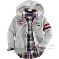 Spring 2014 children hoody 100% cotton zipper-up sweatshirt boys brand outerwear children's clothing kids sportswear