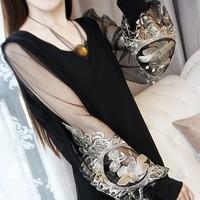 New 2014 free shipping autumn summer women base Dress Fashion embroidery grenadine korea Loose large size 4 color M-XXL