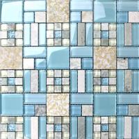 New stone sky blue glass tiles kitchen backsplash bathroom mirror wall stickers mosaic tile backspalsh granite marble decor mesh