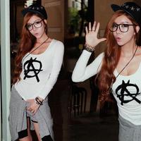 2014 new autumn summer women's fashion long sleeve t-shirt Chiffon women brand t shirts,famous brand women loose cute T-SHIRT