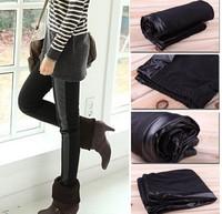 New arrival leggings Women's Fashion Leggings cotton of sidepiece faux leather velvet  velvet patchwork PU pants