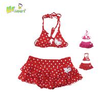 2014 New Hot Girl Dress Bikini Bottom Swimwear Summer Hello Kitty Red Swimsuit For Girls Two Pieces Kids Swimwear