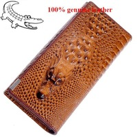 2014 High quality The crocodile head wallet Genuine Leather women's wallet ,Wholesale new fashion women Wallets ,drop shipping.