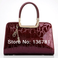 Hot 2014 genuine glossy patent leather 6 colors stripe bag Fashion women leather handbags, brand lady evening totes woman bag