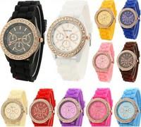 2014 Fashion geneva fashion silica gel jelly rhinestone quartz lady men's and women's watches PL032
