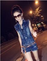 2014 New summer Korea Denim blue Jumpsuits Rompers Ladies denim jean sleeveless vest Jacket high quality Free shipping