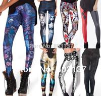 New 2014 Women Blue MIDNIGHT OWL QUEEN OF HEARTS DAY OF THE DEAD Galaxy Leggins Digital Print Pants Fitness LEGGINGS Drop Ship