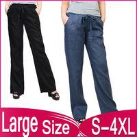 New Large Size Women's casual cotton linen wide leg pants Literature and art model trousers 862 2XL,3XL,XXXXL,4XL free shipping