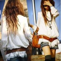 2013 Hot Sale Fashion Women's Long Tunic Top Vintage HIPPIE White Lace Shirt Blouse Free Shipping 2863