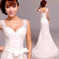 Princess sexy mermaid Wedding Dresses 2014 plus size v-neck lace Wedding Dress belt 963wholesale discount