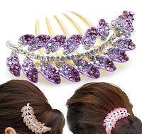 Wholesale supply rhinestone jewelry insert comb hair comb head flower Leaf  hair sticks free shipping
