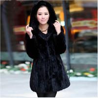Winter Outwear Coats for Women Real Mink Fur Coat Long Knee Cover Winter Coat Women Hood Jacket High Quality Free Shipping