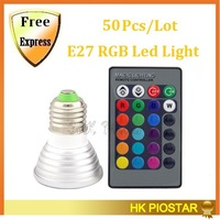 50Pcs/Lot E27 Led RGB Bulb 4w 16 color 85-265V Led Spotlight Lamp With IR Remote controller Fedex Or DHL Free shipping