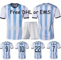 Free DHL / EMS 2014 home  DI MARIA MESSI KUN AGUERO LAVEZZI MASCHERANO high quality soccer jersey uniforms(shirts+shorts)