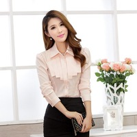 Exclusive Brand Design Size S-XXL 2014 long sleeve Ladies formal career sweet cute reffules collar chiffon Blouses & Shirts