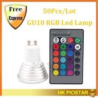 50Pcs/Lot GU10 Led RGB Bulb 4w 16 color 110v 220v Led Spotlight Lamp With IR Remote controller Fedex Or DHL Free shipping