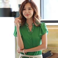 spring 2015 Blouses & Shirts  women blouses chiffon blouse women lace top  blusas femininas size m-2xl free shipping 15