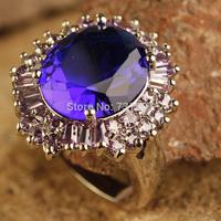 Wholesale Splendide Sapphire Quartz & Tourmaline Silver Ring Size 7 Blue Stone Fashion Ring