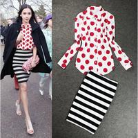 1121 2014 polka dot print shirt slim hip bust skirt casual set