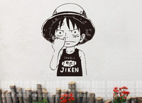 Free shipping ONE PIECE  LUFFY Car Wall Stickers Japanese Cartoon Decals Vinyl Decal Sticker Home Decoration